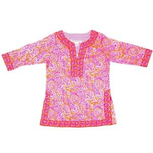 NWT Gretchen Scott Paisley Orange Pink Tunic - XS